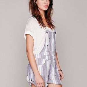 Free People overalls criss cross back shorts